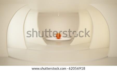 Stylish room with arcs, clean interior, illuminated center, 3d illustration
