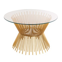 Stylish Round Clear Glass Top Coffee Table with Satin Gold Iron Spokes Hourglass Pedestal Base Isolated. Modern Living and Dining Room Furniture. Side View of Condo Cocktail Low Table
