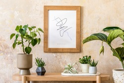 Stylish scandinavian interior of living room with mock up poster frame, wooden console, plants composition, books, decoration, grunge wall and elegant personal accessories in modern home decor.