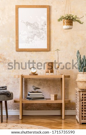 Stylish scandinavian interior of living room with mock up poster frame, wooden console, plants, grey stool, decoration, grunge wall and elegant personal accessories in modern home decor.