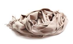 Stylish scarf on white background. Winter clothing