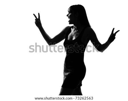 stock photo : stylish sexy silhouette caucasian beautiful woman laughing ...