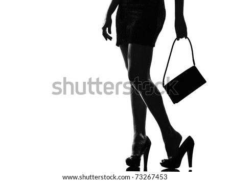 stylish sexy silhouette caucasian beautiful woman tired painful feet legs close up details standing waiting on studio isolated white background
