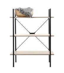 Stylish shelving unit with wicker basket isolated on white