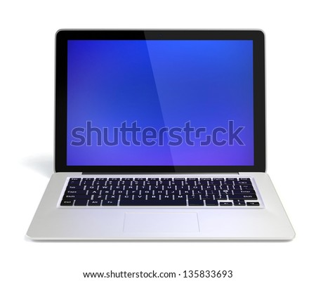 Stylish silver ultrabook(front view)