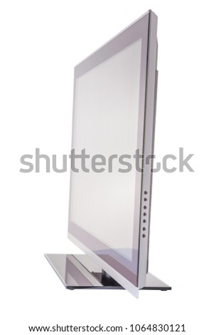 Stylish slim TV side view, isolated on white background