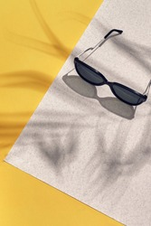 Stylish sunglasses with bright sunlight and shadow from palm leaves.