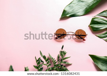 Stylish sunglasses with tropical leaves on color background #1316082431