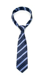stylish tied blue striped tie isolated on white background  studio shot of expensive modern silk tie