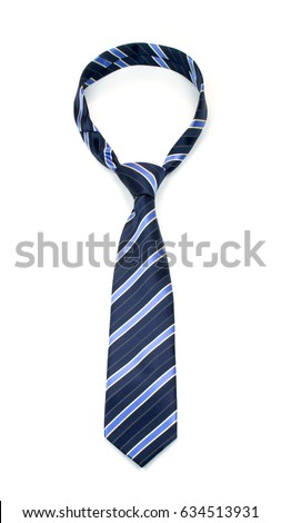 stylish tied blue striped tie isolated on white background \nstudio shot of expensive modern silk tie