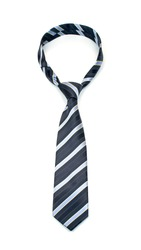 Stylish tied navy blue and grey striped tie isolated on white background