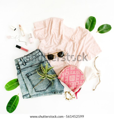 Stylish, trendy feminine clothes and accessories. Flat lay, top view #561452599