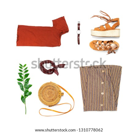 Stylish trendy feminine summer clothing set, skirt, jacket, suede sandals, round rattan bag shawl watch on white background. Female fashion background, beauty or fashion blog concept Flat lay top view #1310778062