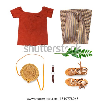 Stylish trendy feminine summer clothing set, skirt, jacket, suede sandals, round rattan bag shawl watch on white background. Female fashion background, beauty or fashion blog concept Flat lay top view #1310778068