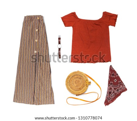 Stylish trendy feminine summer clothing set, skirt, jacket, suede sandals, round rattan bag shawl watch on white background. Female fashion background, beauty or fashion blog concept Flat lay top view #1310778074