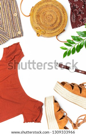 Stylish trendy feminine summer clothing skirt jacket suede sandals round rattan bag shawl wrist watch on white background. Female fashion background beauty or fashion blog concept Flat lay top view  #1309333966