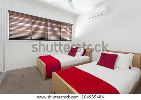 Stylish twin bedroom in modern Australian house