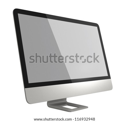 stylish ultra slim desktop computer - stock photo