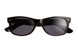 Stylish unisex sunglasses on a white background. Front view.