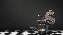 Stylish Vintage Barber Chair Isolated On Grey Background. Barbershop Theme