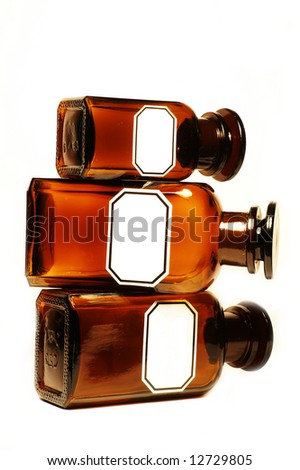 Stylish, vintage pharmacy bottles, version with no inscriptions, isolated