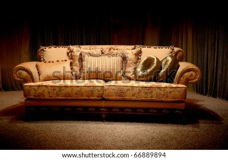 Stylish Vintage Sofa With Pillows Stock Photo 66889894 : Shutterstock