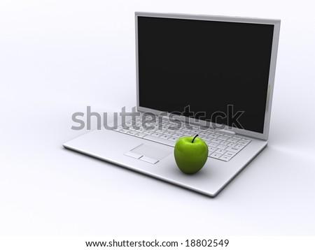 Stylish white laptop and a green apple - rendered in 3d