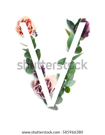 Free photos letters made of pink flowers v letter flower alphabet stylish white letter v on the leaves and rose flowers background 585966380 altavistaventures Images