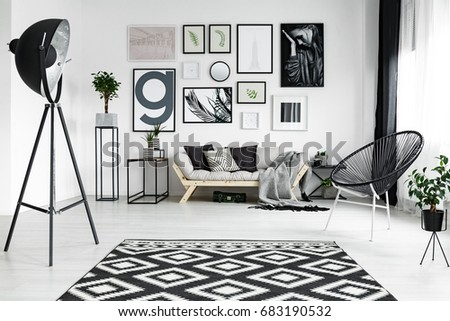Stylish white living room with black accessories and plants #683190532