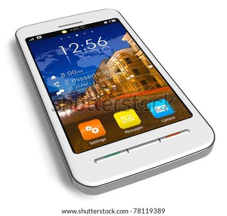Stylish white touchscreen smartphone isolated on white reflective background