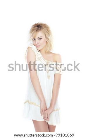 Stylish woman posing on a white background - stock photo