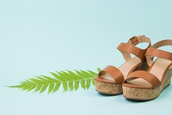 Stylish women's sandals and palm leaf on a blue background. Concept of recreation by the sea.