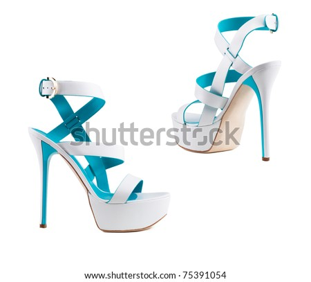 Stylish women's shoes on a white background.