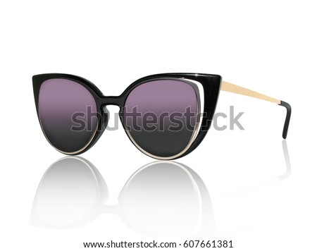 stylish women's sunglasses isolated on the white background #607661381