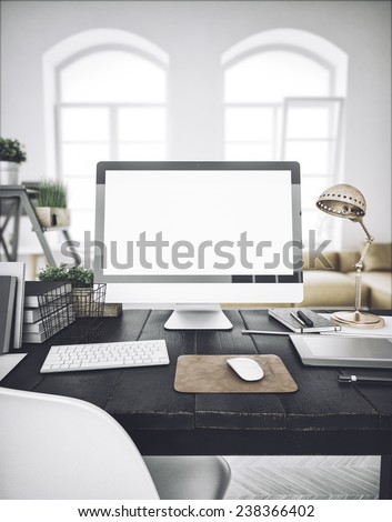 Stylish workspace with computer  on home or studio #238366402