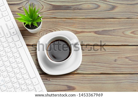 Stylish workspace with desktop computer, office supplies at office. Work desk  concept #1453367969