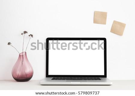 stylish workspace with laptop...
