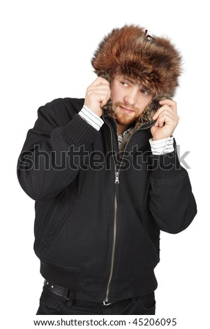 Stylish young man in a  winter jacket on a white  background