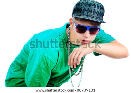 Stylish young man is dancing. Isolated over white background.