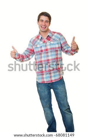 stylish young man standing over white background and showing thumbs up by both hands