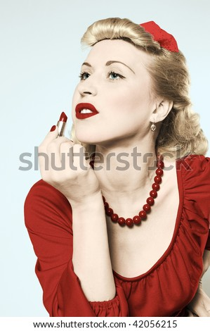 stylization of happy pin-up girl with lipstick