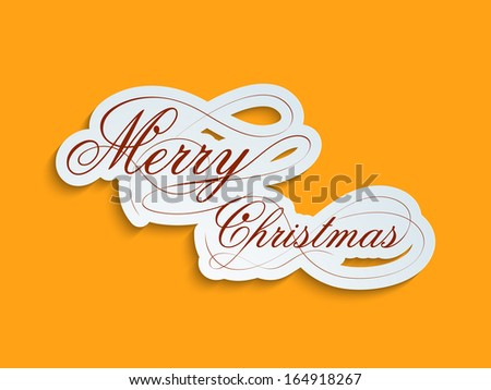 Stylize Merry Christmas text on bright yellow background, can be use as flyer, banner or poster.