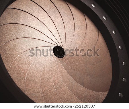 Stylized aperture blades exposed with depth of field in the hole and clipping path included.