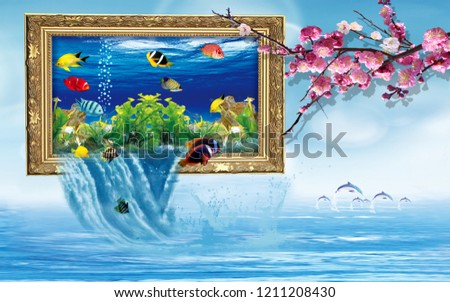Stylized aquarium in a picture frame, water flows down, a branch of sakura