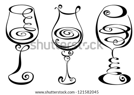 Stylized black and white wine glass