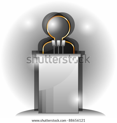 Stylized black man icon and tribune with three microphones