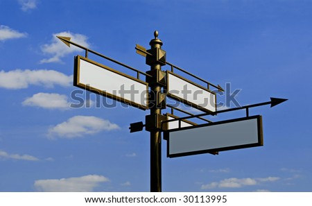 Stylized blank directional sign post on a sky background