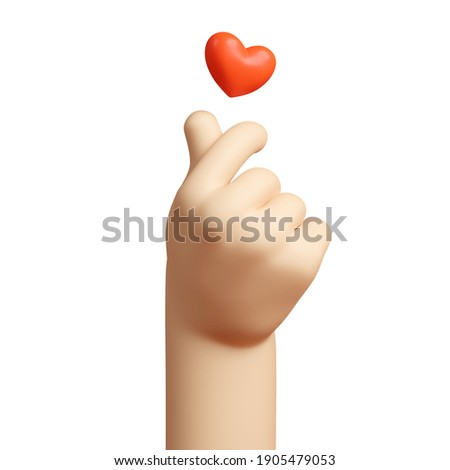 Stylized Cartoon 3D Rendering Hand Gesture Represents the Finger Heart Symbol, a Message of Love