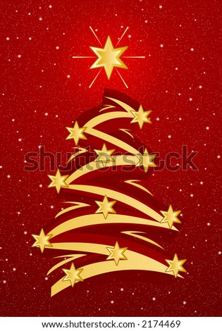 Stylized christmas tree illustation - Gold on red snowfall background