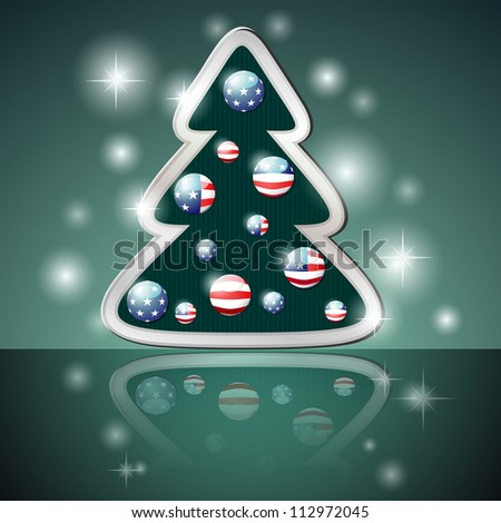 Stylized Christmas tree with balls in color of American flag